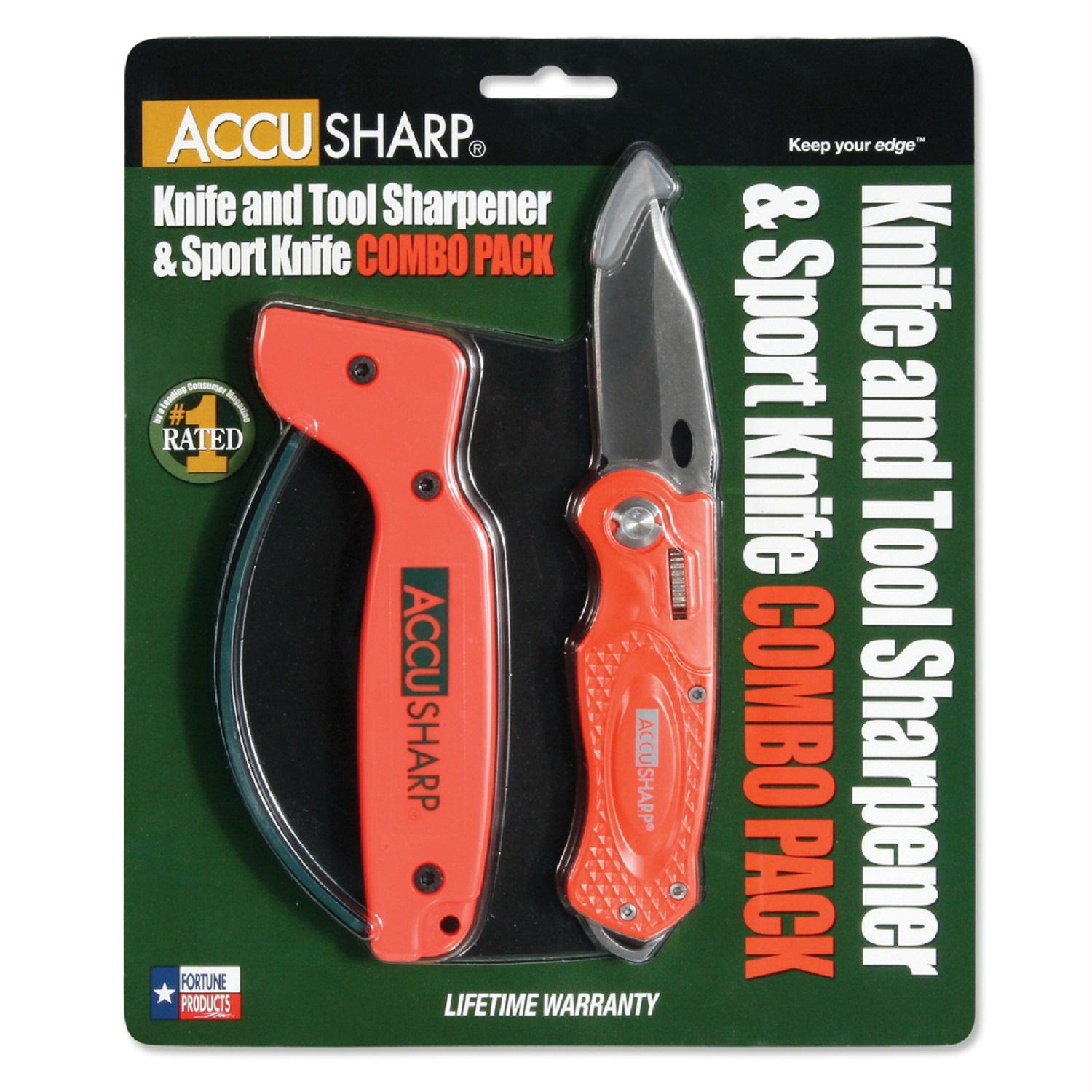 Accusharp Sharpener And Sport Folding Knife Combo Orange